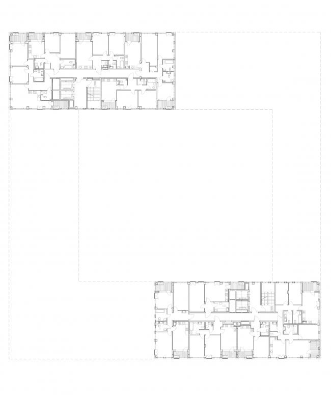 """Golden City"" residential complex. Block #6. Building 1, the standard plan of the tower © KCAP + ORANGE + A.Len"