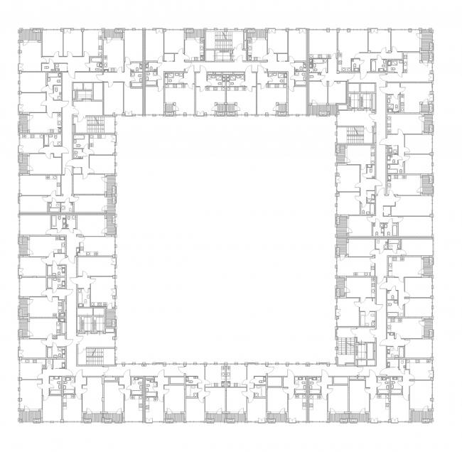 """Golden City"" residential complex. Block #6. Building 1, the standard floor © KCAP + ORANGE + A.Len"