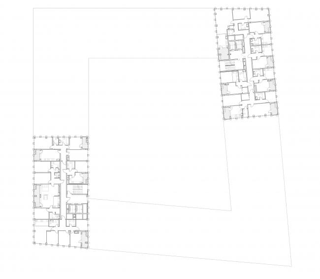 """Golden City"" residential complex. Block #6. Building 2, the standard plan of the towers © KCAP + ORANGE + A.Len"