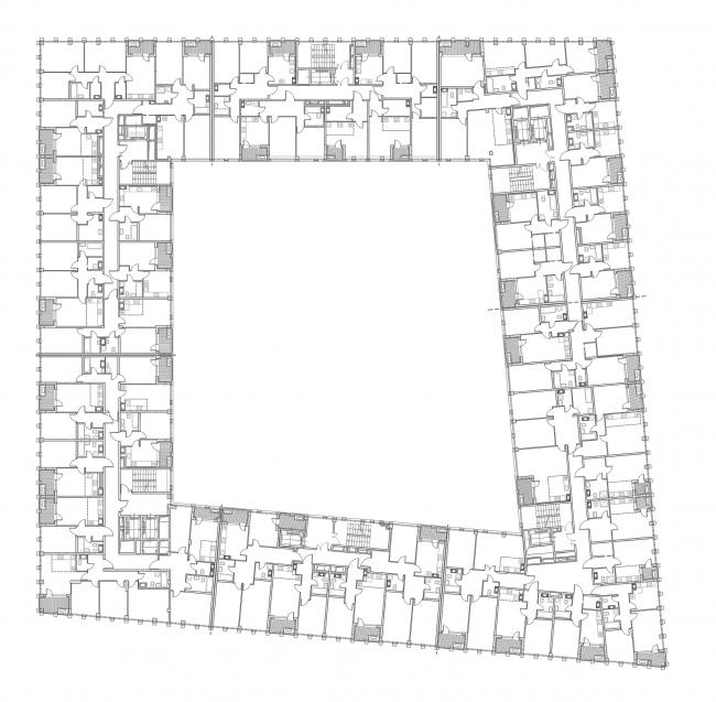 """Golden City"" residential complex. Block #6. Building 2, the standard floor © KCAP + ORANGE + A.Len"