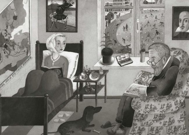 Дедушка с внуком. Рисунок Сергея Бархина, 1991 / Из книги «Архитектор Григорий Бархин», стр. 307