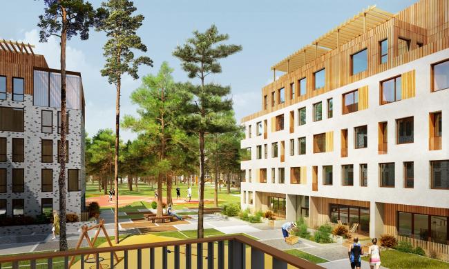 ЖК «Палникс». Вид с балкона во двор © Архитектурное Бюро ОСА