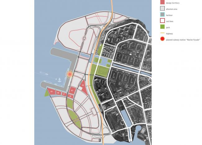 Integrated public and housing construction on the Vasilyevsky Island. Location plan. Project, 2015 © KCAP + ORANGE + A.Len