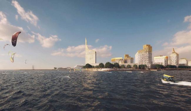 Integrated public and housing construction on the Vasilyevsky Island. Project, 2015 © KCAP + ORANGE + A.Len