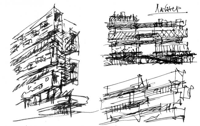 Жилой комплекс «Versis» на Нахимовском проспекте. Эскиз © Архитектурное бюро Асадова