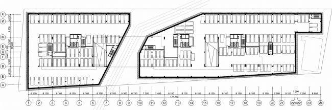 Жилой комплекс «Versis» на Нахимовском проспекте. План подземного этажа © Архитектурное бюро Асадова