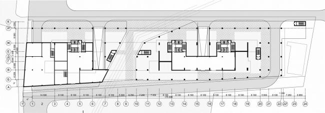 Жилой комплекс «Versis» на Нахимовском проспекте. План 1 этажа © Архитектурное бюро Асадова