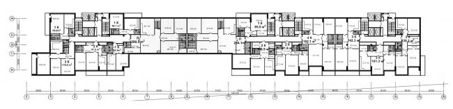 Жилой комплекс «Versis» на Нахимовском проспекте. План этажа с «мостом» © Архитектурное бюро Асадова