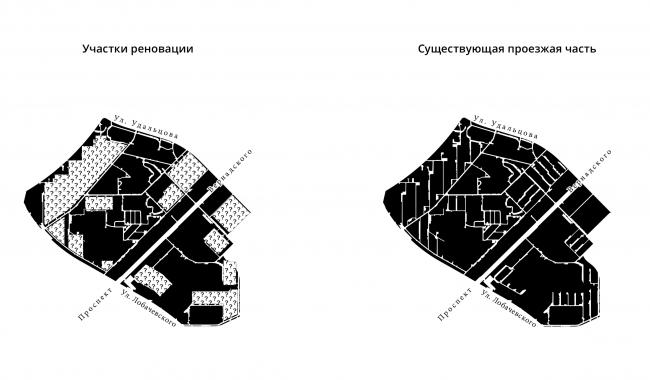 Проект реновации территории «Проспект Вернадского». Существующее положение © АБ Остоженка