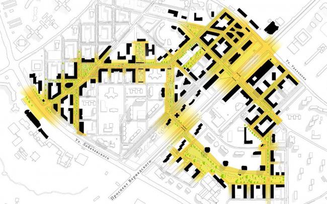 Проект реновации территории «Проспект Вернадского». Система общественных пространств © АБ Остоженка