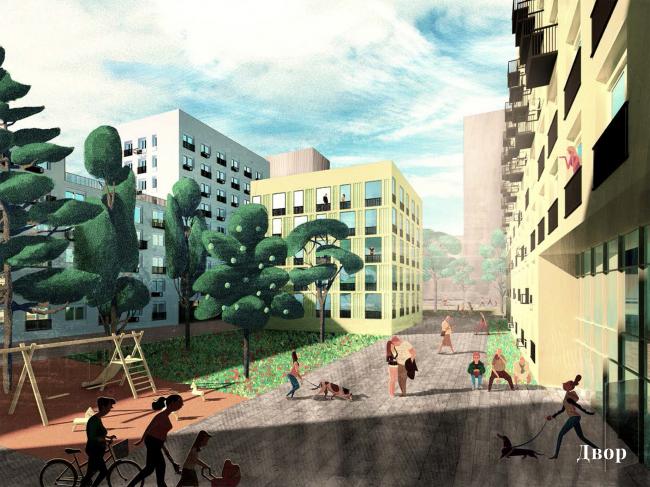 Проект реновации территории «Проспект Вернадского». Двор © АБ Остоженка