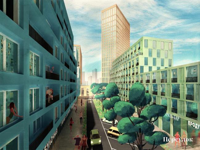 Проект реновации территории «Проспект Вернадского». Переулок © АБ Остоженка 5211fc69efc