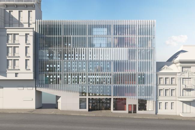 Administrative and business building in the Myasnitsky Drive. The facade along the Sadovo-Spasskaya Street © Ostozhenka