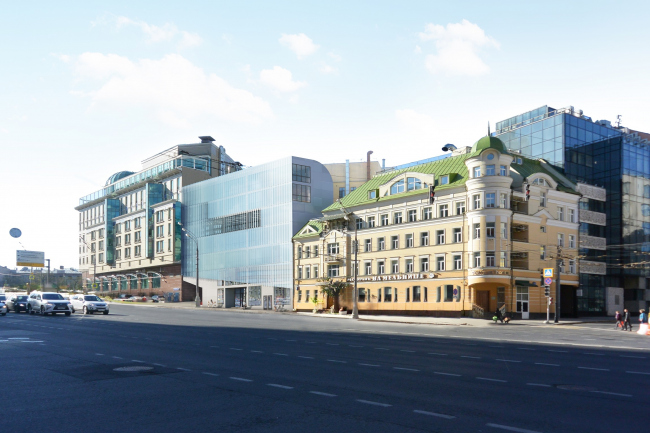 Administrative and business building in the Myasnitsky Drive. Photo montage in the Sadovo-Spasskaya Street © Ostozhenka