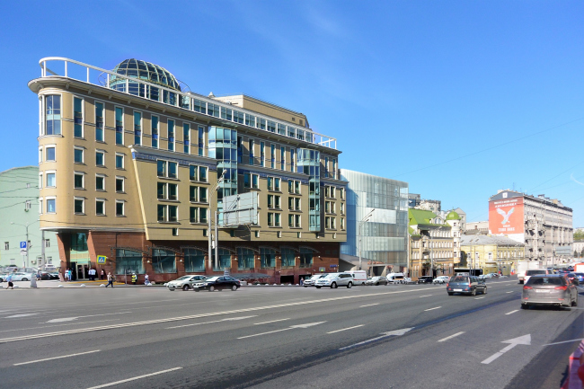 Administrative and business building in the Myasnitsky Drive. Photo montage in the Sadovo-Spasskaya Street © Ostozhenka