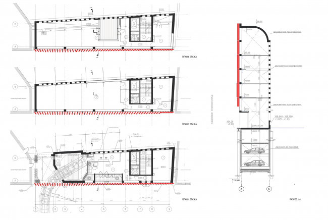 Administrative and business building in the Myasnitsky Drive. Plans of the 1st, 2nd, 3rd, and 6th floors. Section views 1-1 © Ostozhenka