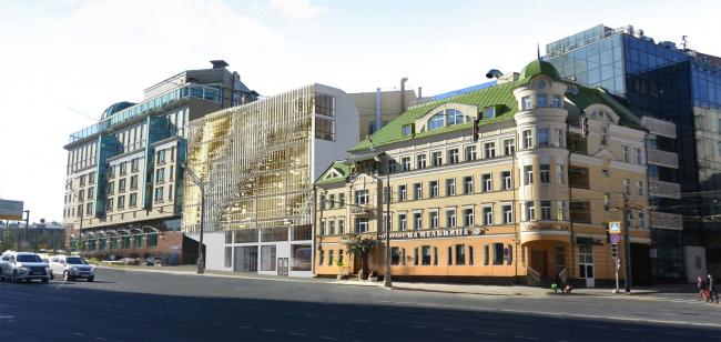 Административно-деловое здание в Мясницком проезде. Фотовстройка по Садово-Спасской улице. Вариант 2 © АБ Остоженка