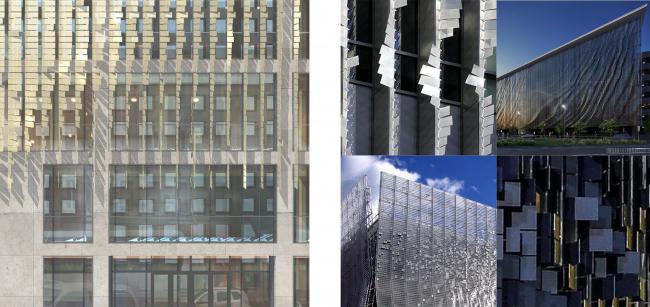 Административно-деловое здание в Мясницком проезде. Фрагмент проектируемого фасада.Вариант 2, примеры © АБ Остоженка
