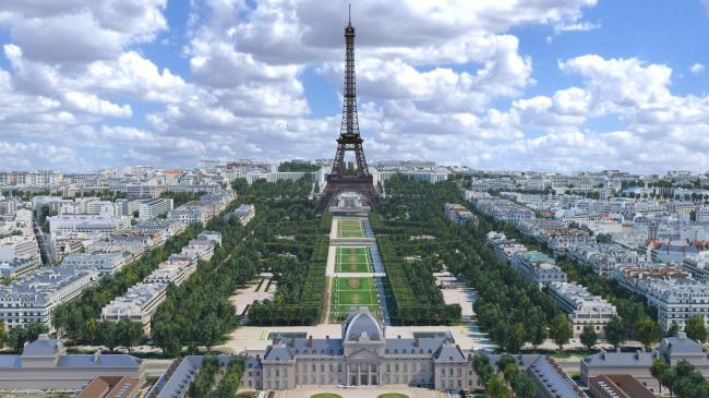 Вид Эйфелеву башню с Марсова поля. Фотография © Mairie de Paris et Autodesk