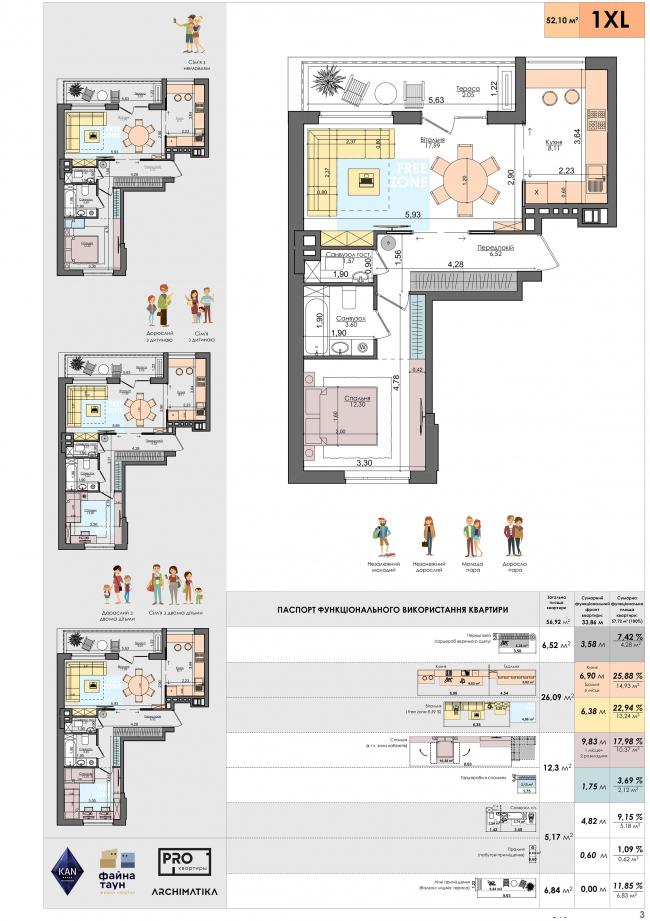 Single-bedroom PRO-apartment of a 1XL size © ARKHIMATIKA