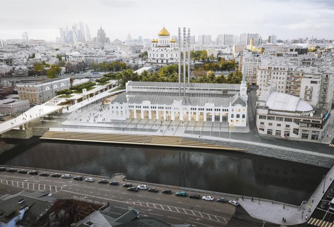 Вид на комплекс со стороны Болотной небрежной. Предоставлено Renzo Piano Building Workshop (RPBW)