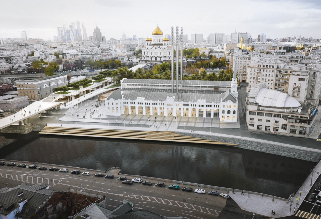 View of the complex from the Bolotnaya Embankment. Photo courtesy by Renzo Piano Building Workshop (RPBW)