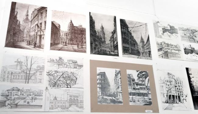 Выставка «Архитектурные зарисовки». Планшеты со студенческими работами © МАРХИ