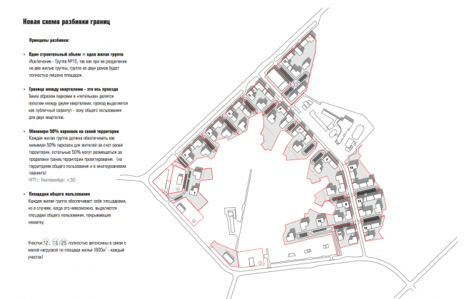 ЖК «Палникс». Новая схема разбивки границ © Архитектурное Бюро ОСА