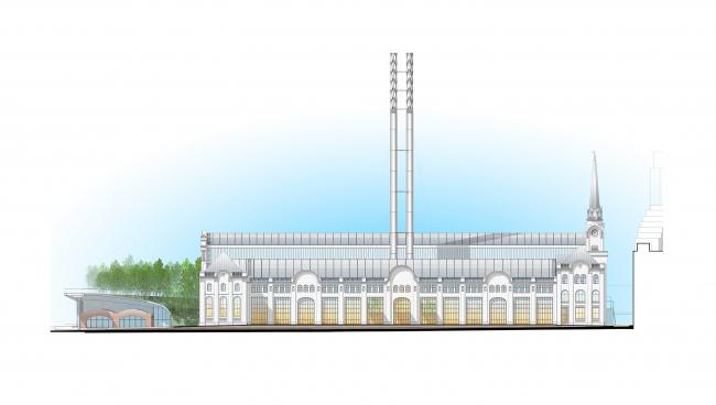 Восточный фасад. Центр современной культуры фонда V-A-C в бывшей электростанции ГЭС-2 © Renzo Piano Building Workshop (RPBW) & Проектное бюро АПЕКС