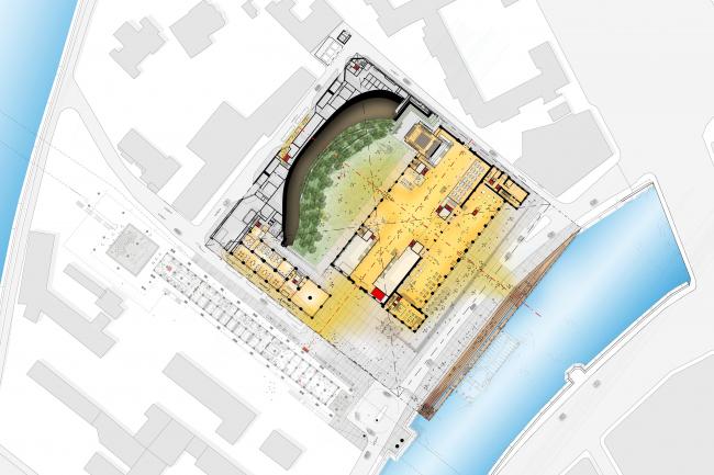 Совмещенный план первого этажа. Центр современной культуры фонда V-A-C в бывшей электростанции ГЭС-2 © Renzo Piano Building Workshop (RPBW)