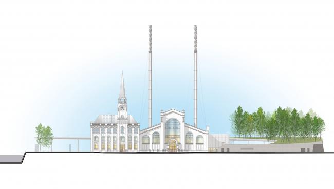 Северный фасад. Центр современной культуры фонда V-A-C в бывшей электростанции ГЭС-2 © Renzo Piano Building Workshop (RPBW) & Проектное бюро АПЕКС