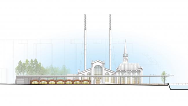 Южный фасад. Центр современной культуры фонда V-A-C в бывшей электростанции ГЭС-2 © Renzo Piano Building Workshop (RPBW) & Проектное бюро АПЕКС