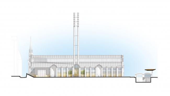 Западный фасад. Центр современной культуры фонда V-A-C в бывшей электростанции ГЭС-2 © Renzo Piano Building Workshop (RPBW) & Проектное бюро АПЕКС