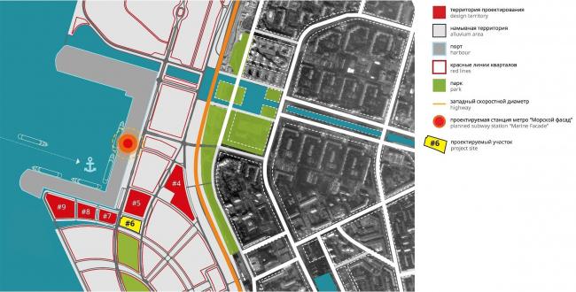 Комплексная общественно-жилая застройка на Васильевском острове. Ситуационный план © KCAP + ORANGE + Архитектурное бюро «А.Лен»