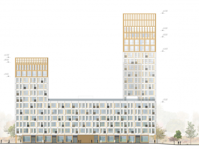 ЖК Golden City. 6 квартал. Корпус 2. Фасад в осях 1-23-3 © KCAP + ORANGE + Архитектурное бюро «А.Лен»