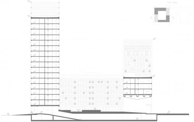 ЖК Golden City. 6 квартал. Корпус 1. Разрез 1-1 © KCAP + ORANGE + Архитектурное бюро «А.Лен»