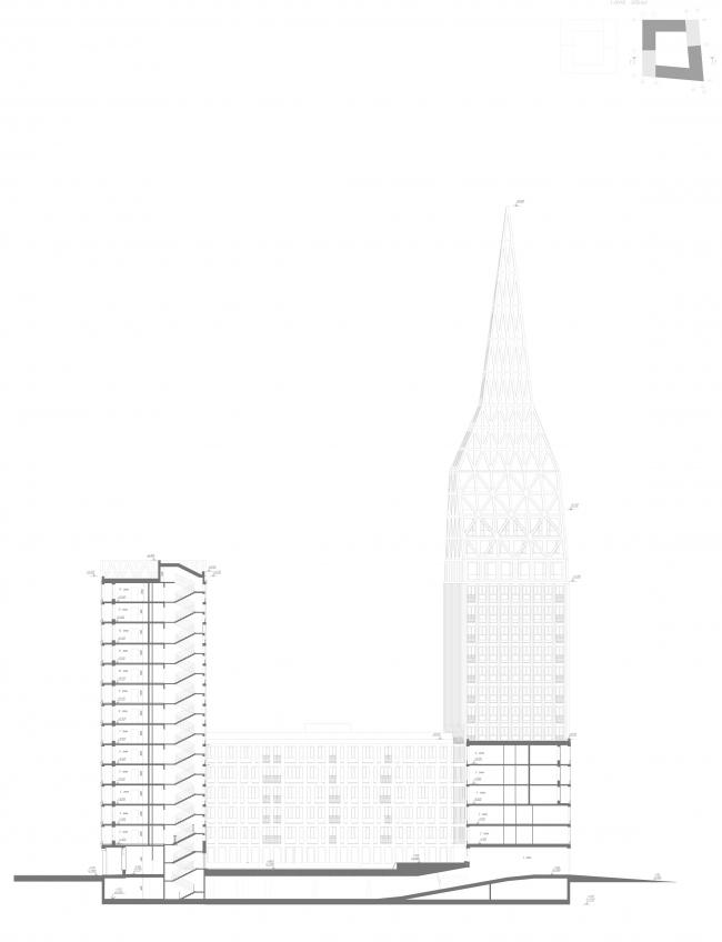 ЖК Golden City. 6 квартал. Корпус 2. Разрез 1-1 © KCAP + ORANGE + Архитектурное бюро «А.Лен»