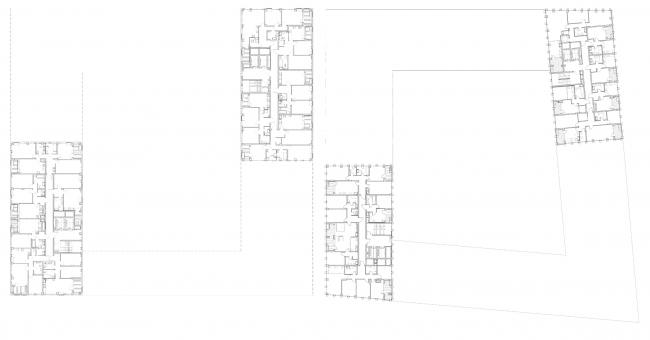 ЖК Golden City. 6 квартал. План типового этажа секций-башен © KCAP + ORANGE + Архитектурное бюро «А.Лен»