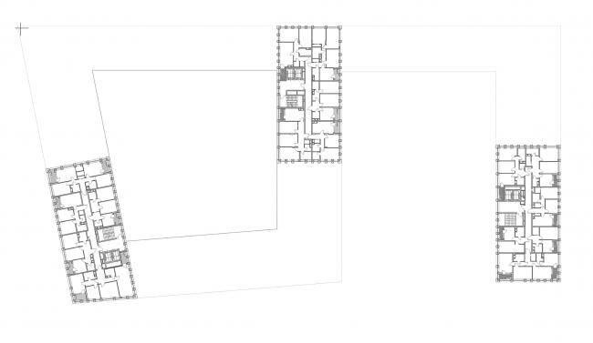 ЖК Golden City. 7 квартал. План типового этажа секций-башен © KCAP + ORANGE + Архитектурное бюро «А.Лен»
