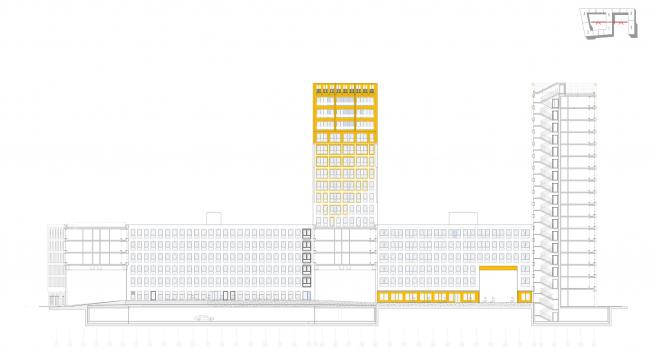 ЖК Golden City. 7 квартал. Поперечный разрез © KCAP + ORANGE + Архитектурное бюро «А.Лен»