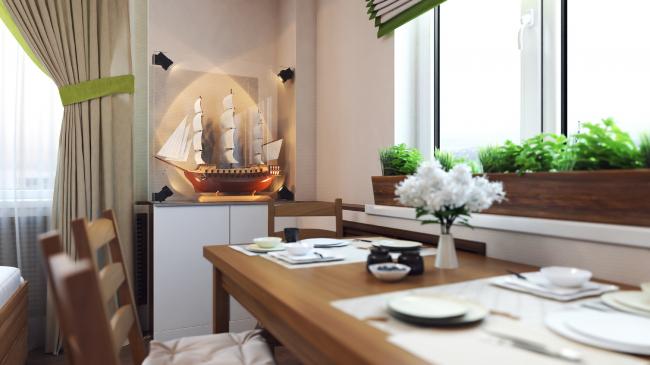 Дизайн-проект квартиры «Летучий корабль» (Москва).  Дизайнер Ярослава Галайко (компания Ecologica Interiors)
