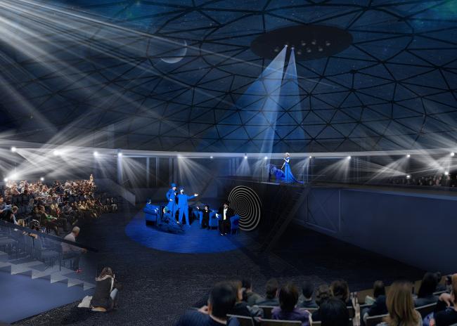 Зона ВДНХ, завершающий круг монорельса с театральной сценой. Проект «Моносад» © WOWHAUS