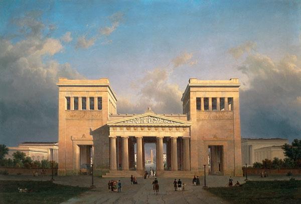 Лео фон Кленце. «Пропилеи на площади Кенигсплац в Мюнхене». 1848. Полотно изображает его собственную постройку, реализованную в 1854-1862.