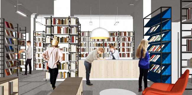 Библиотека №85. Зал выдачи книг. Вид на стойку рецепции. Авторы проекта: Инна Сафиуллина, Оксана Базанова