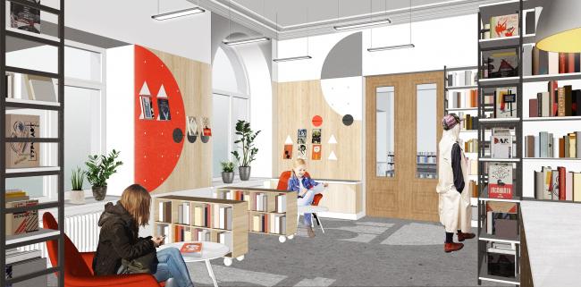 Библиотека №85. Зал выдачи книг. Авторы проекта: Инна Сафиуллина, Оксана Базанова