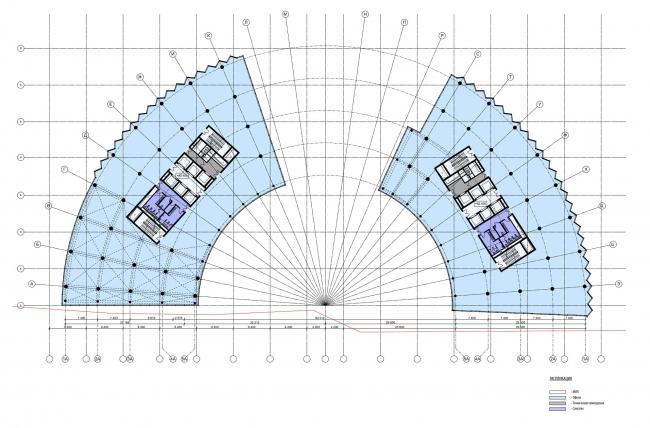 МФК на Ленинградском шоссе, вл. 69. План типового этажа © ТПО «Резерв»
