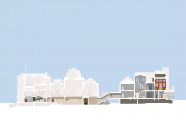 Мастерплан для Королевской академии художеств. Разрез по линии связи Берлингтон-хауса и Берлингтон-гарденс, 6 © David Chipperfield Architects