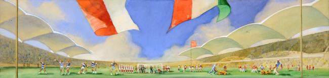 А.Ф. Хряков. Рисунок «На стадионе», 1954. Бумага, карандаш, акварель, белила 20х70