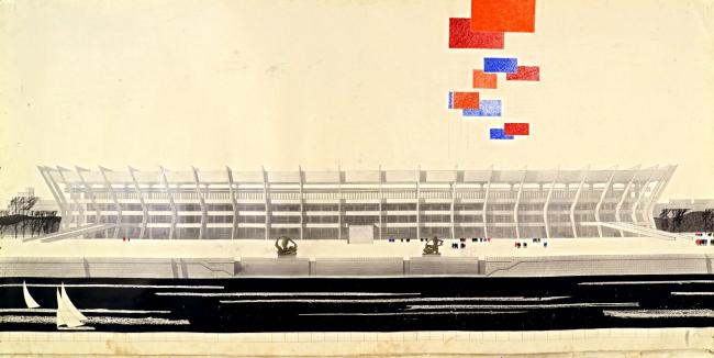 М.П. Бубнов и др. Проект реконструкции Лужников к Олимпиаде.  Панорама со стороны Москва-реки 1979. Бумага, карандаш, тушь, гуашь, аппликация 103x600
