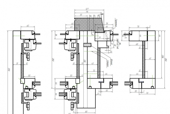 The Narkomfin Building. Window. Draft © Ginsburg Architects